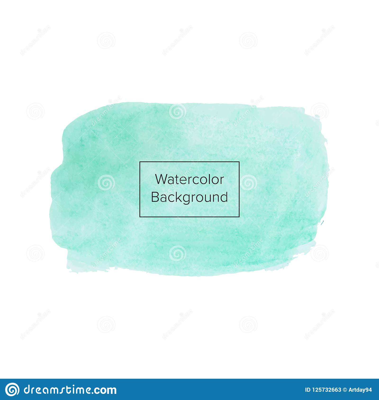 Green or aquamarine watercolor texture on the white background, vector ink, acrylic decoration. Trendy background for design, part