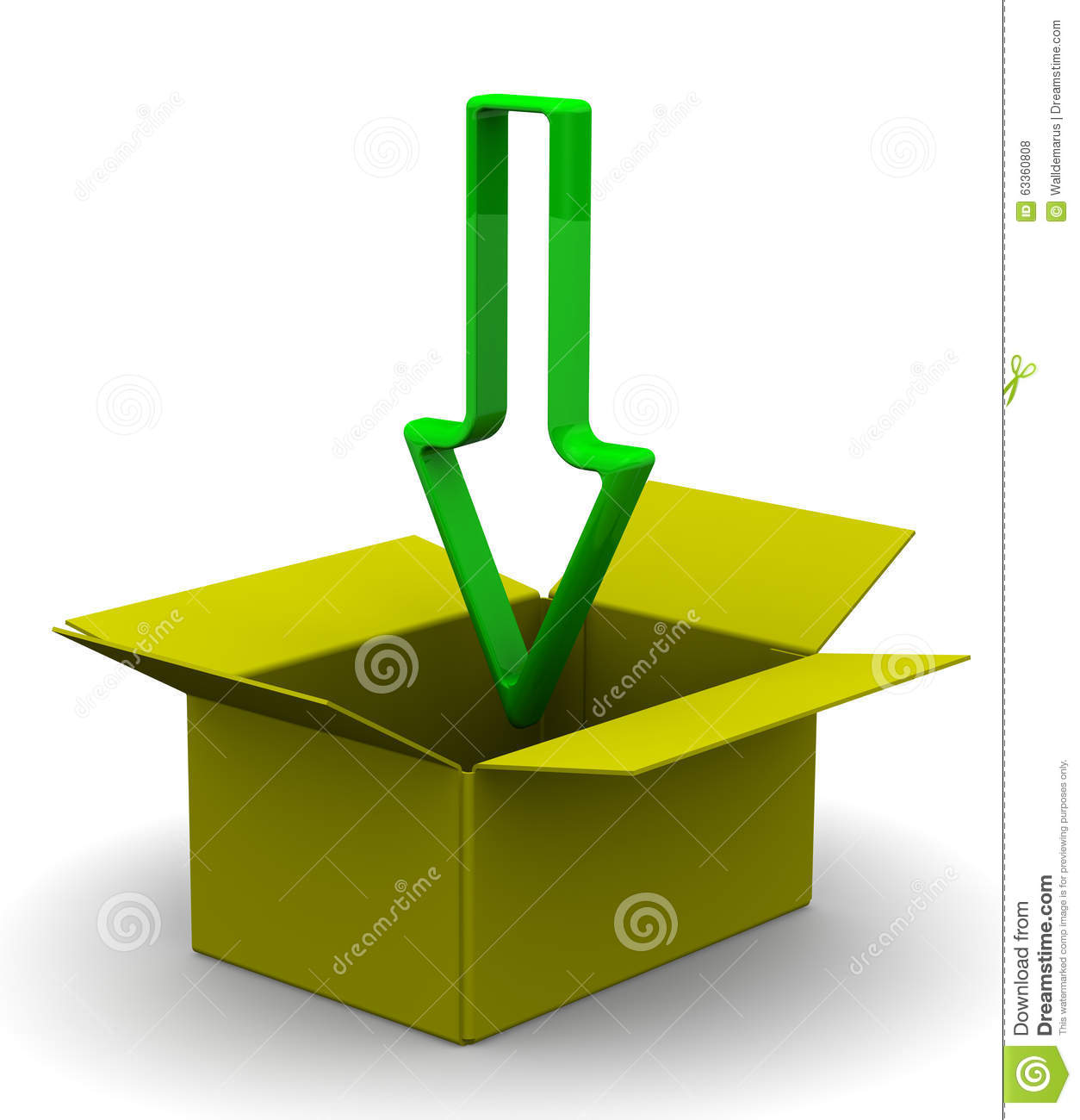 The Green Arrow Indicating The Direction In The Box Stock