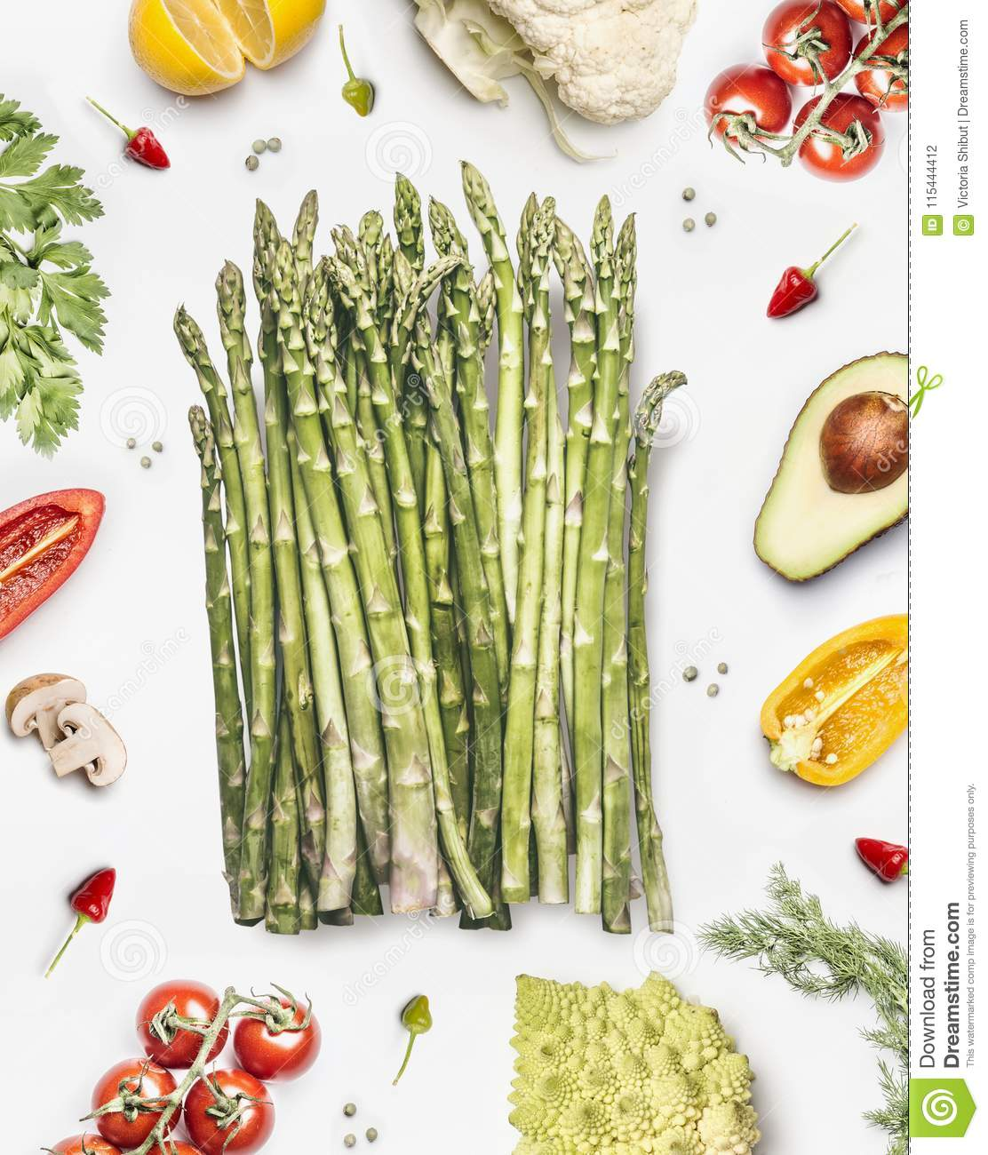 Green Asparagus Bunch With Vegetables Ingredients On White ...