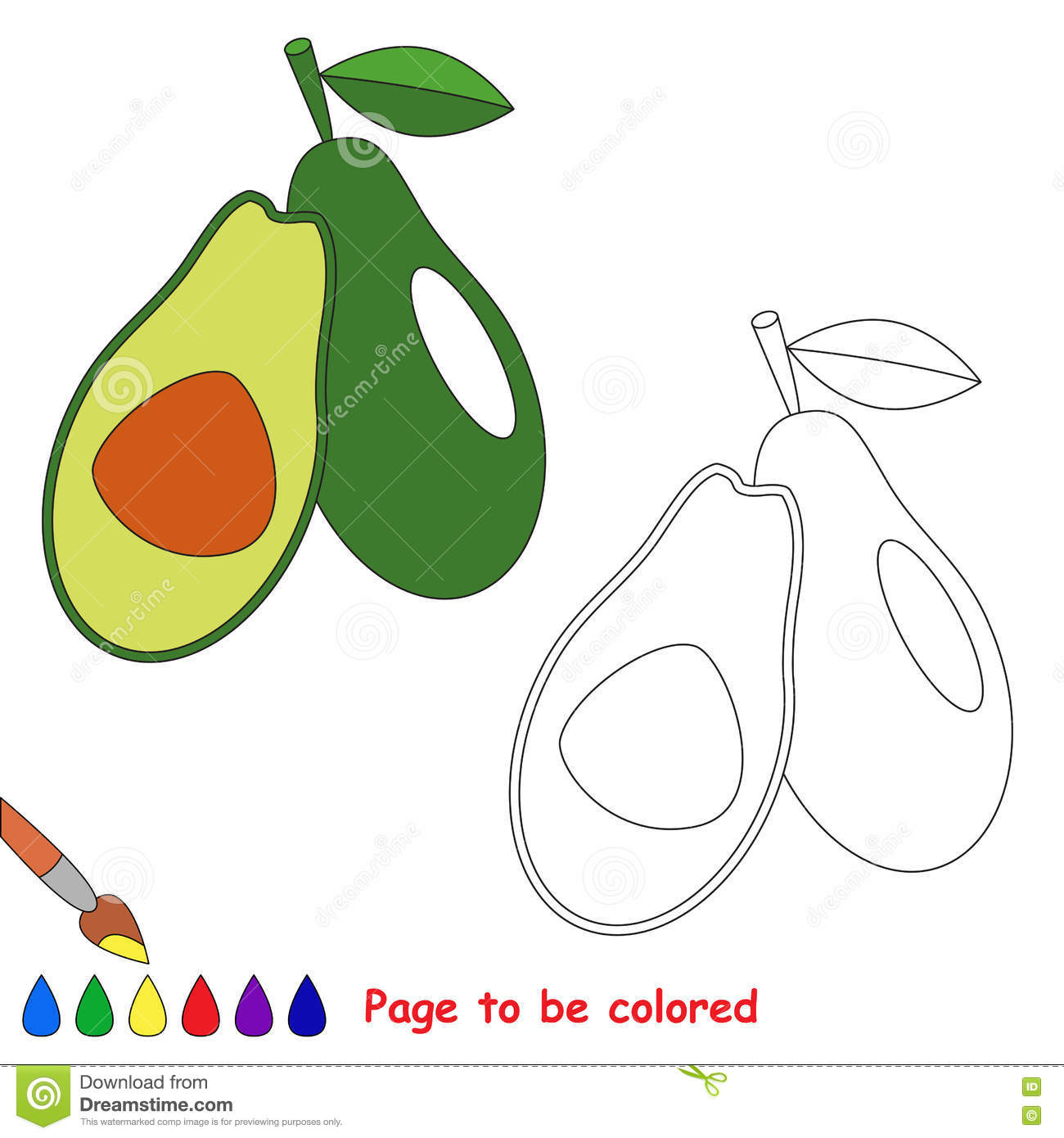 Green Avocado Cartoon. Page To Be Colored. Stock Vector ...
