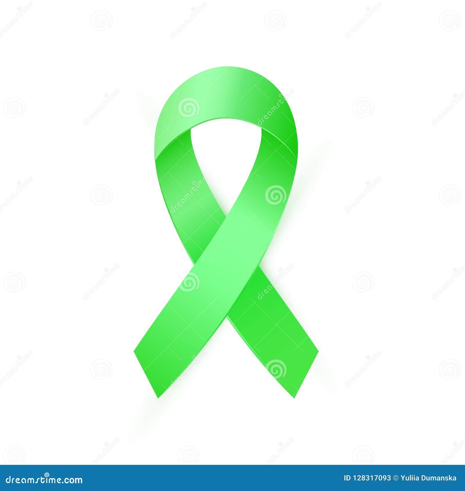 Green Awareness Ribbon For Organ Transplant And Donation Scoliosis Mental Health Symbol