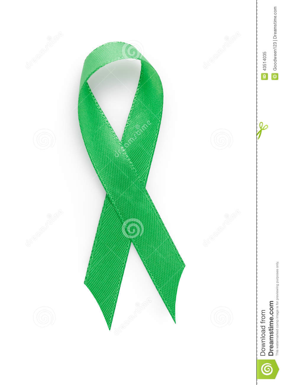 Green Awarness Ribbon Many Meanings Stock Image Image Of Nobody