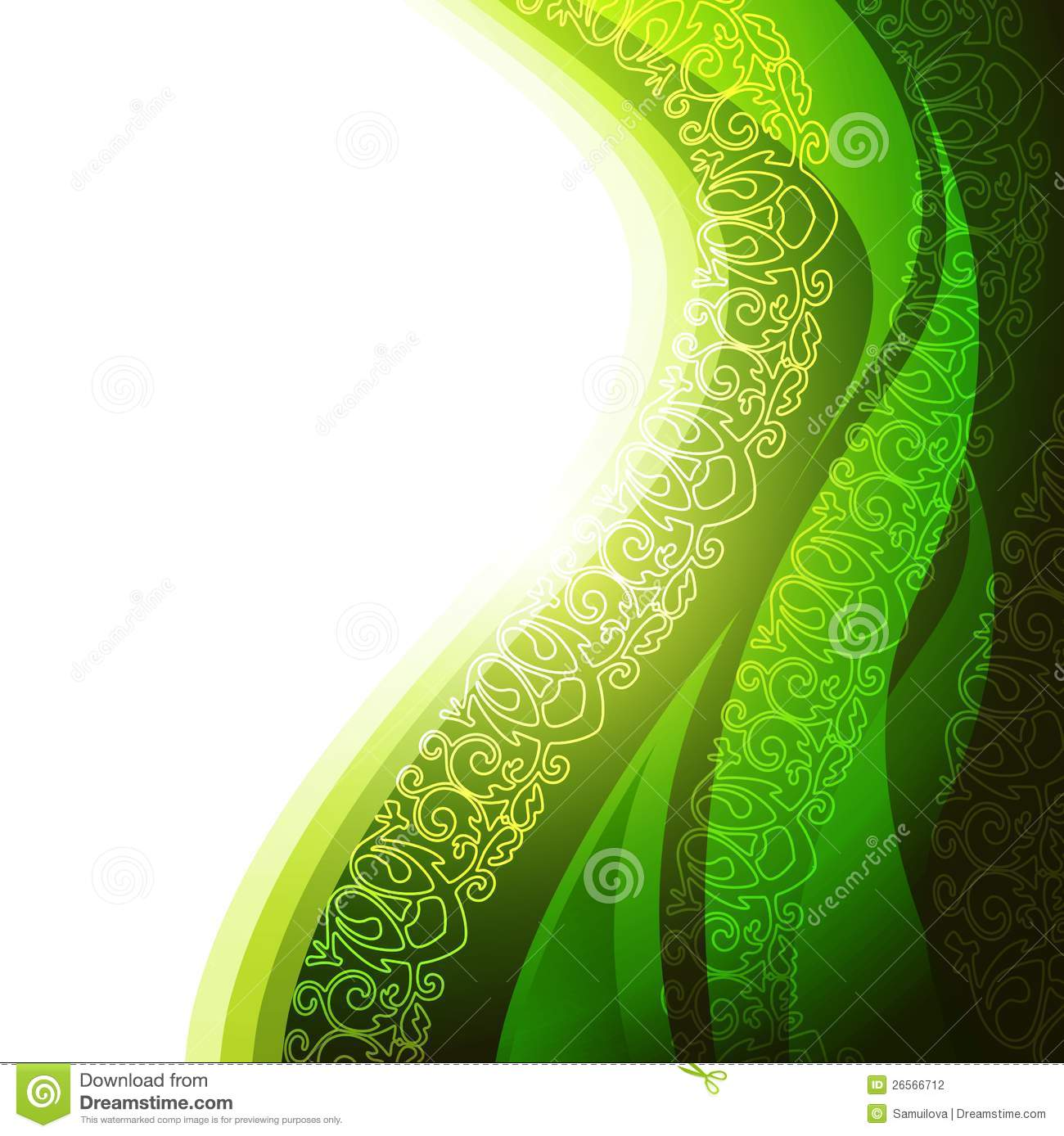 Green Background With Abstract Leaf Stock Vector