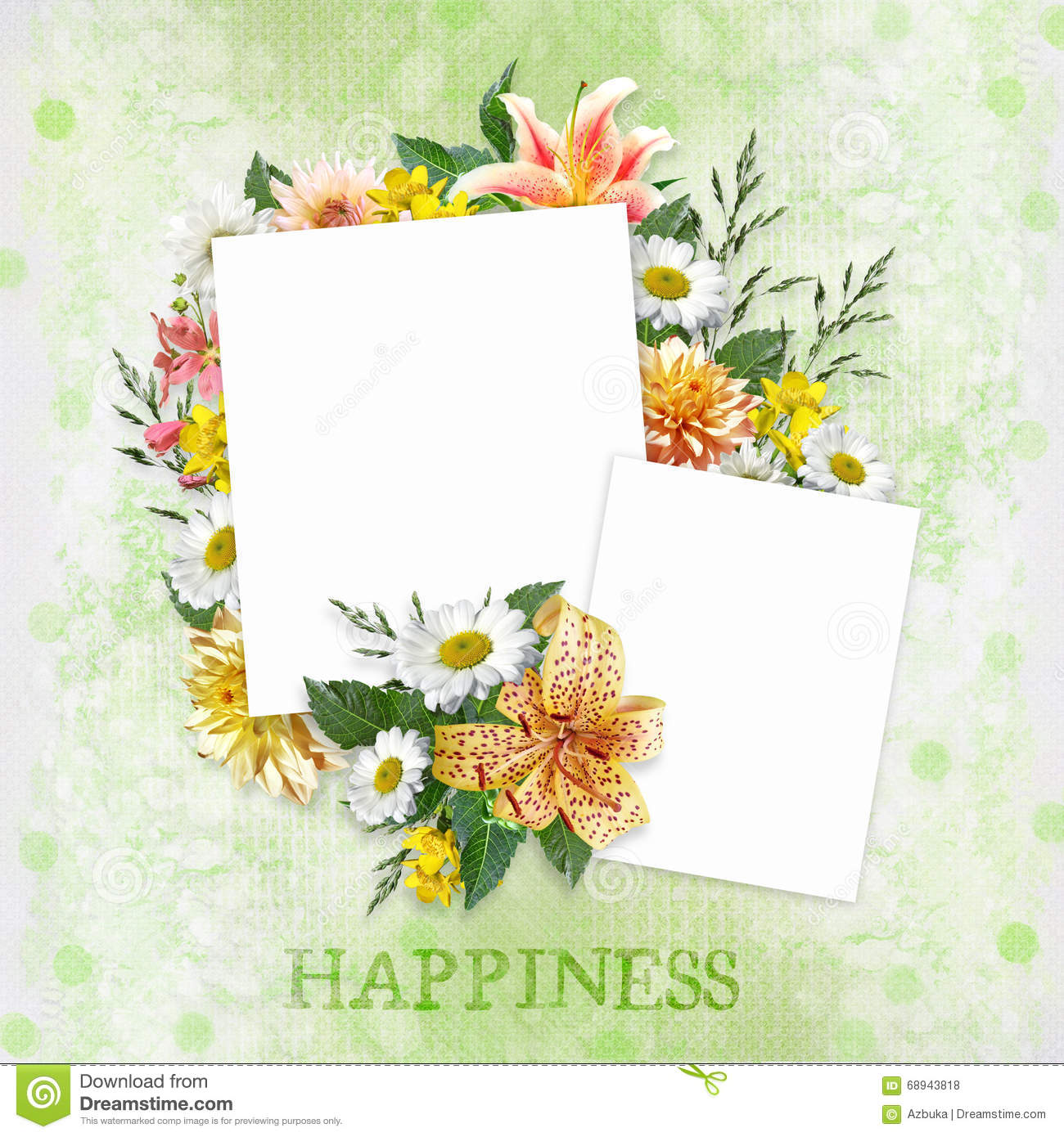 Green Background With Beautiful Flowers And Frames With Space For