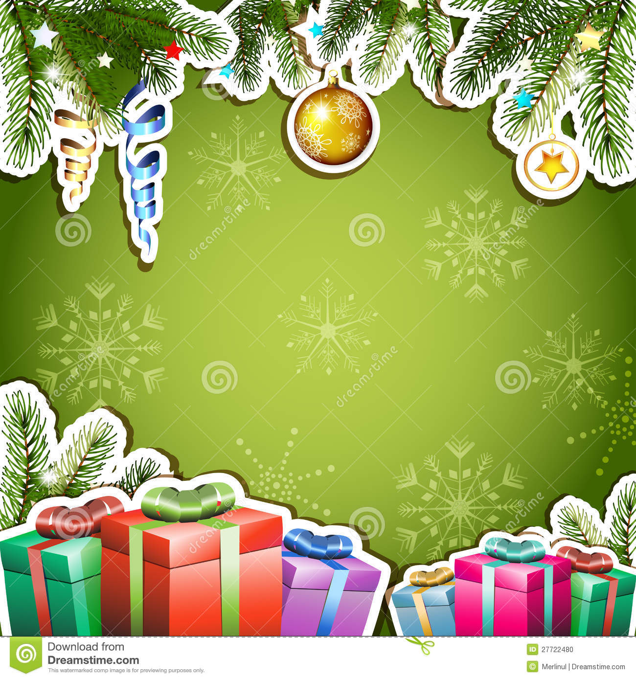 Christmas Gift Background: Green Background With Christmas Gifts Stock Vector