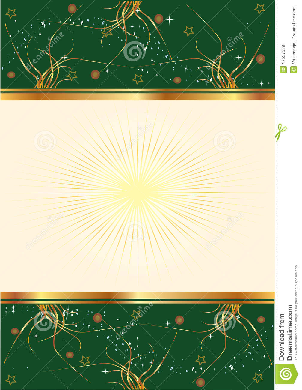 Green Background With Floral Gold Design Royalty Free