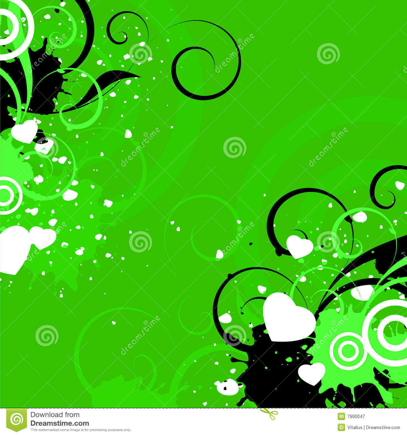 Green Background With Hearts Stock Vector - Image: 7990047