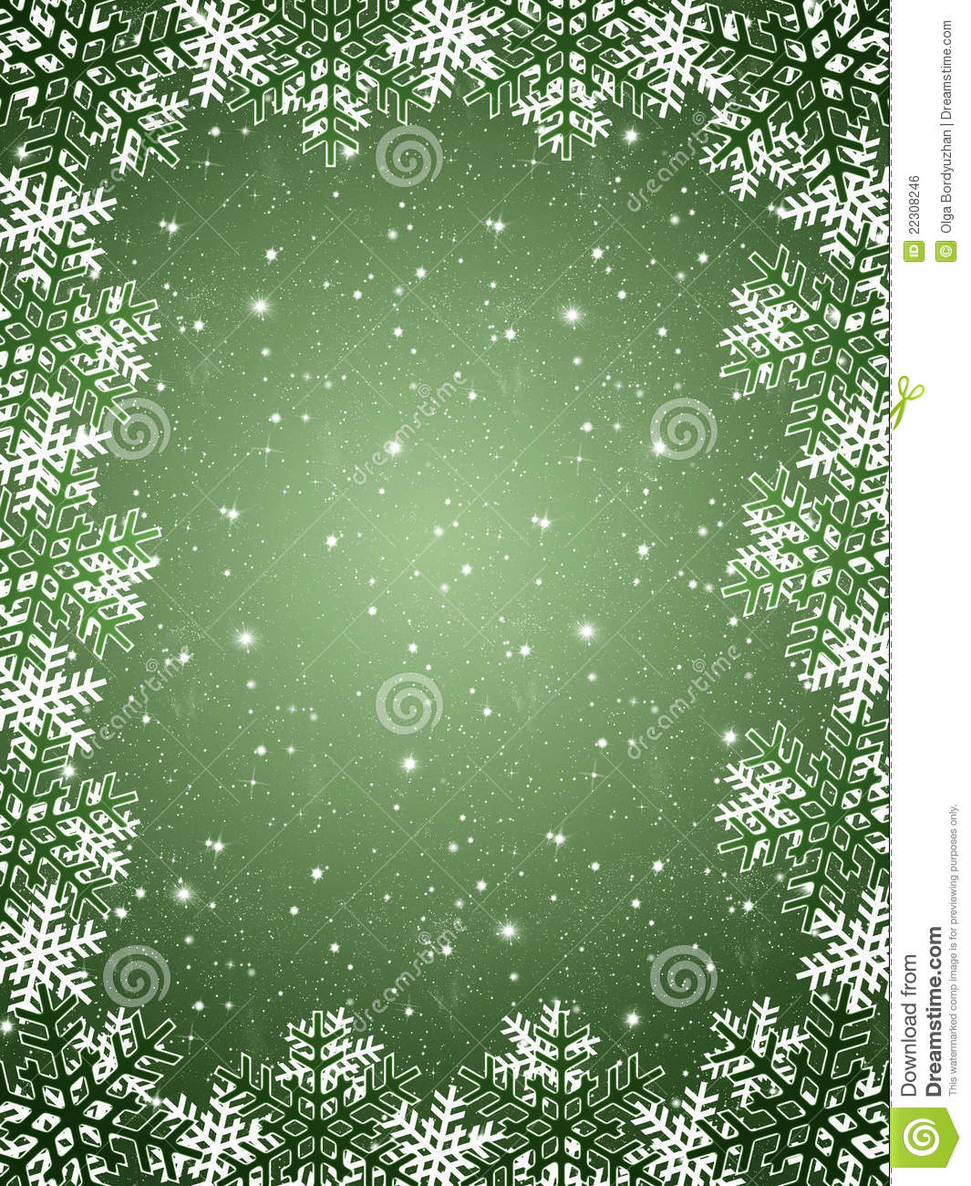 Green Background With Snowflakes Stock Illustration ...