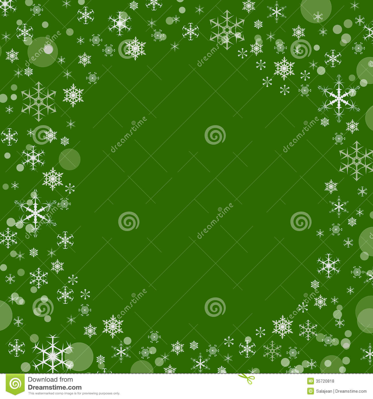 Green Background With Snowflakes Royalty Free Stock Photos ...