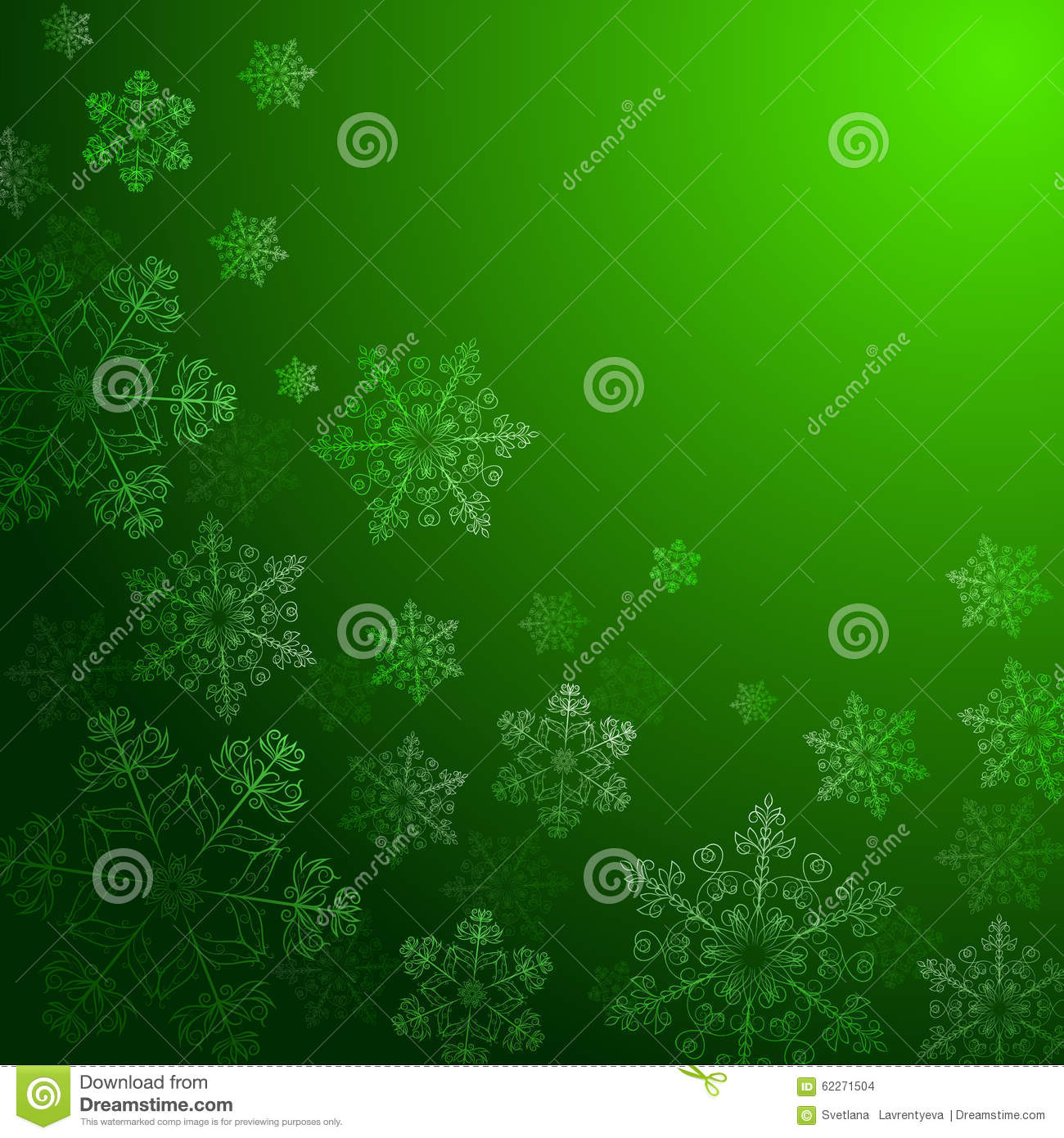 Green Background With Snowflakes, Stock Vector - Image ...