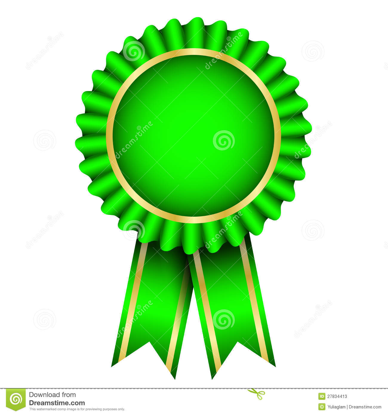 Green badge with ribbon stock vector  Illustration of frame - 27834413