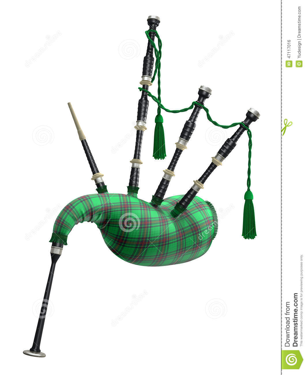 Green bagpipe isolated on white background - 3D illustration.