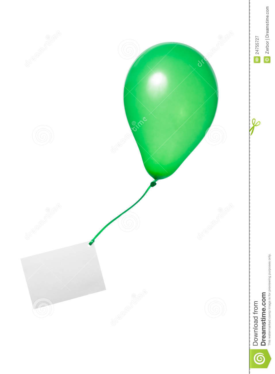 Green Balloon With Card Royalty Free Stock Photography - Image ...