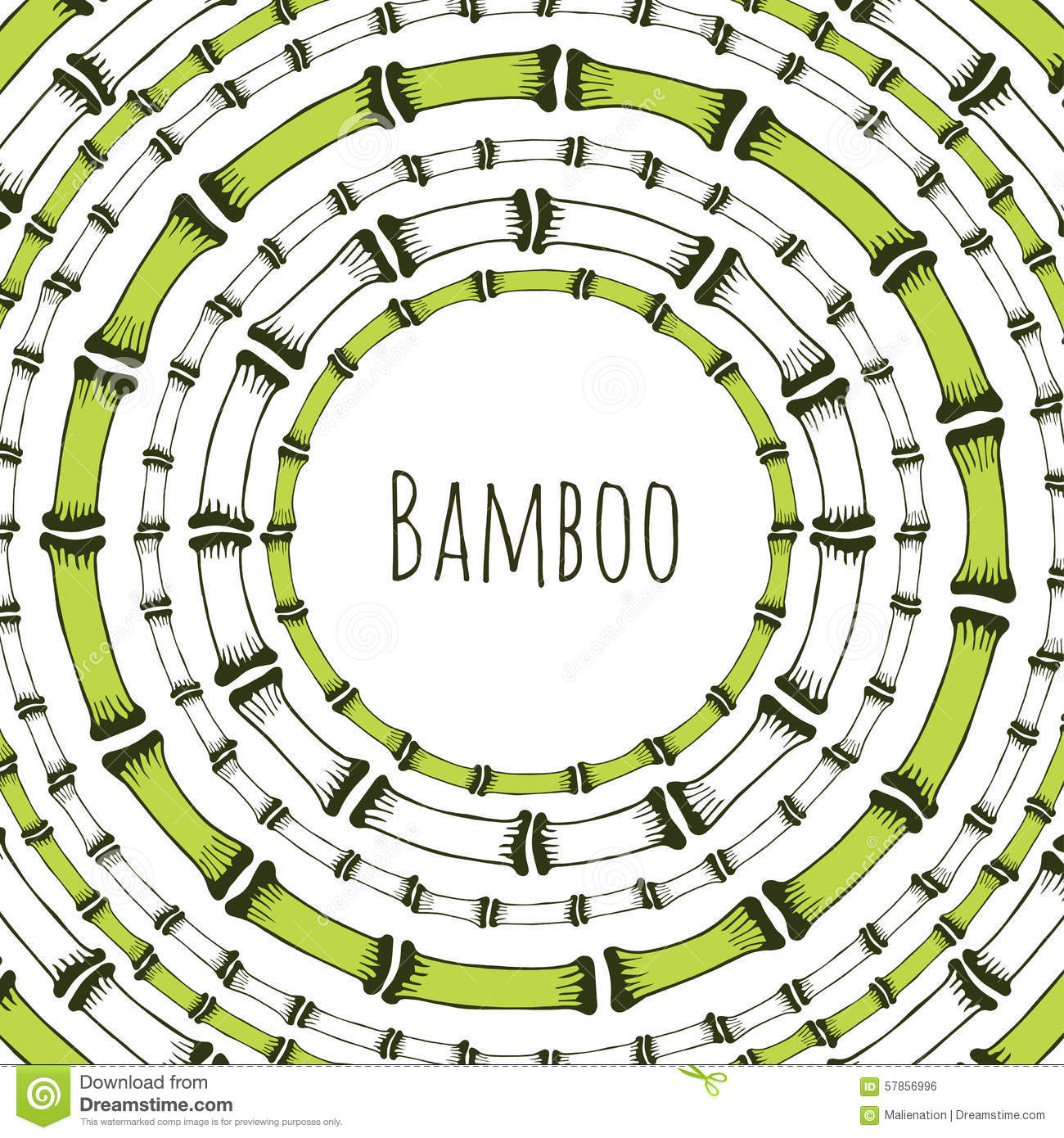 Green Bamboo Circle Frame Doodle Label For Natural