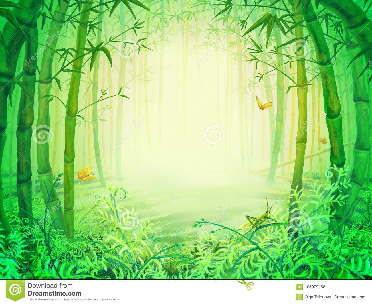 Green bamboo trees inside the forest