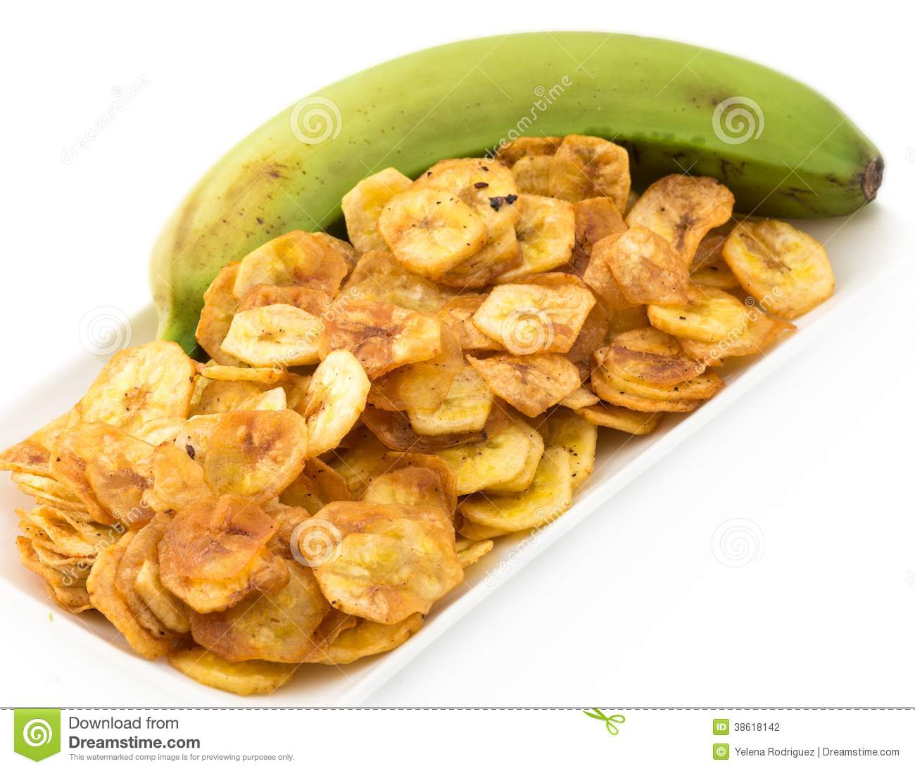 Green Banana Chips From Cuban Cuisine Stock Photo - Image ...