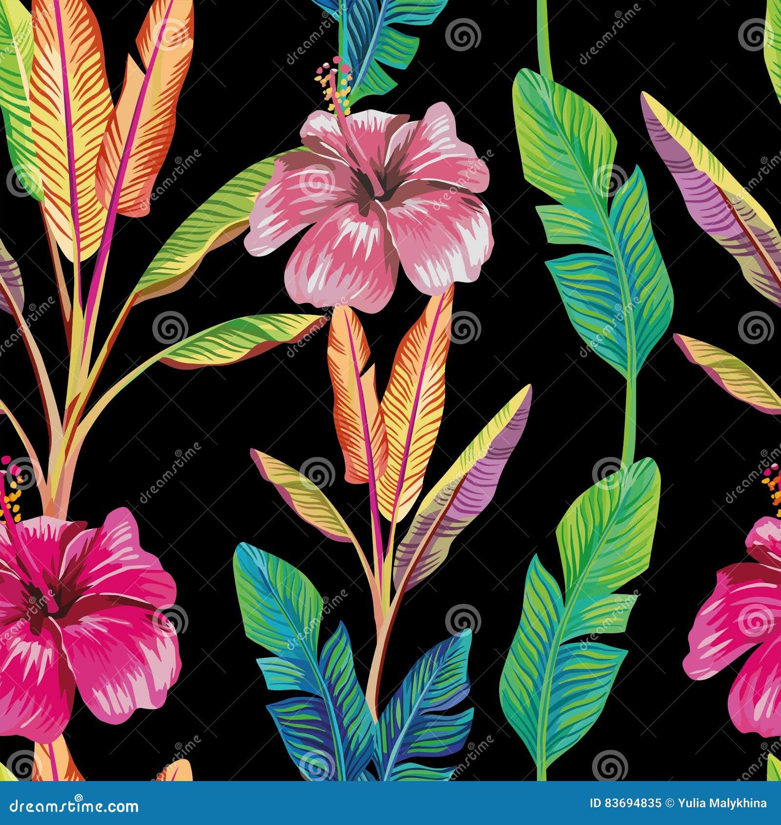 Green Banana Leaves Hibiscus Flower Black Stock Vector