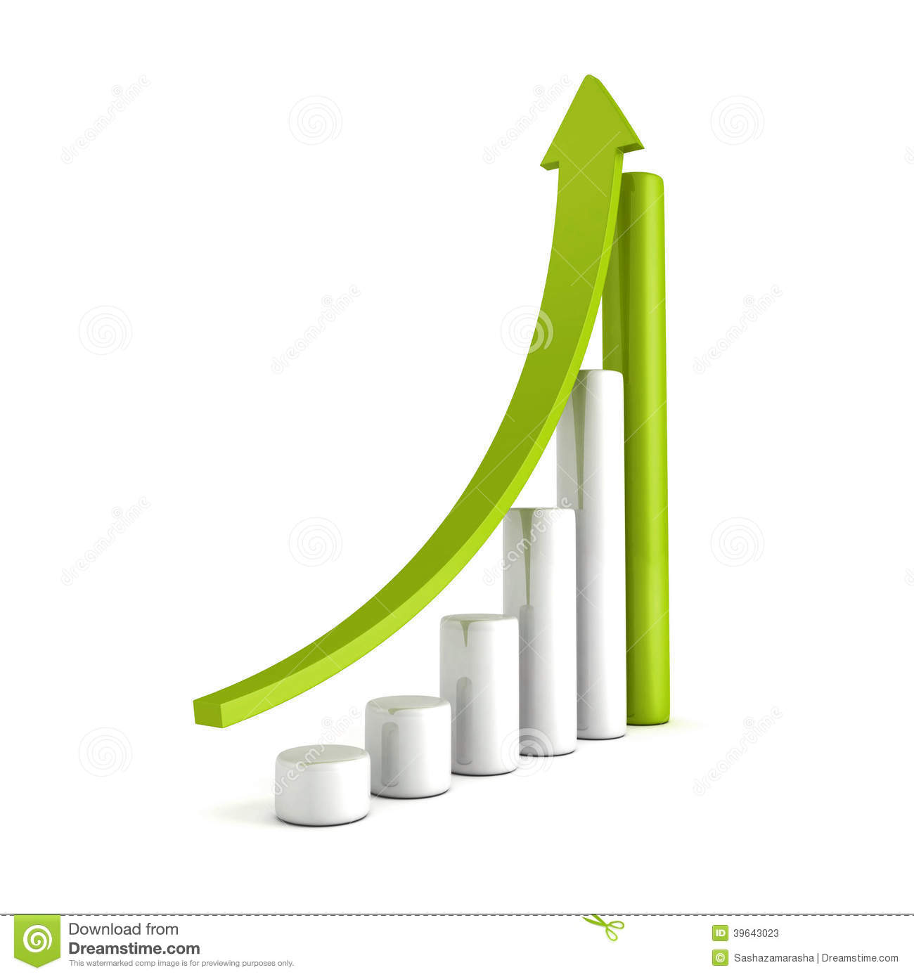 Green Bar Chart Business Growth With Rising Up Arrow Stock ...