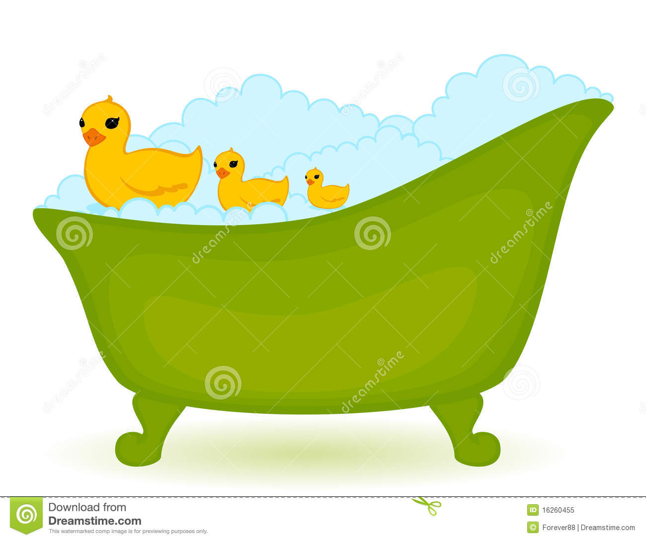 Green bath with ducks