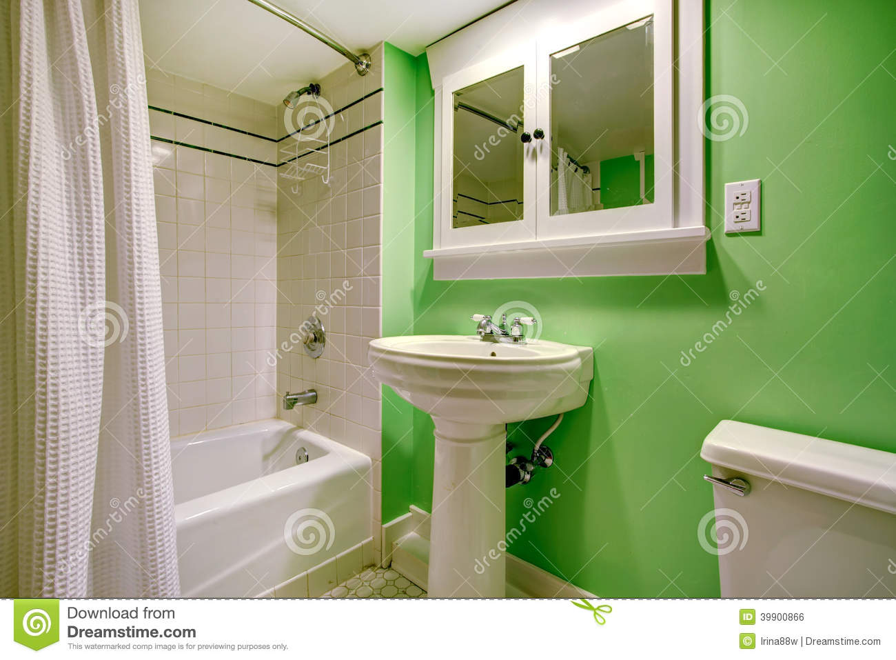 Green Bathroom With White Tile Trim Stock Photo Image 39900866