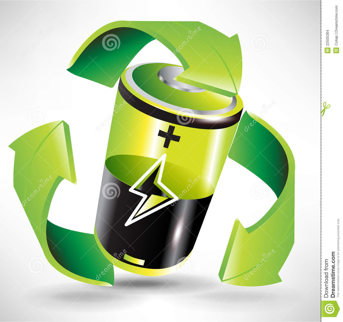 green battery recycling concept stock images   image 22505384