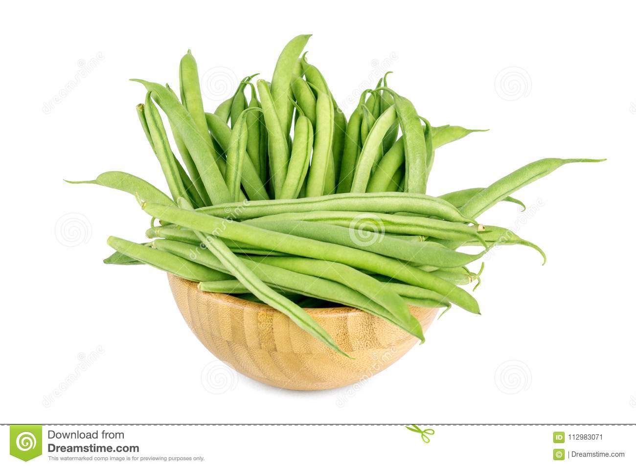 Green beans isolated in wooden bowl on a white background.