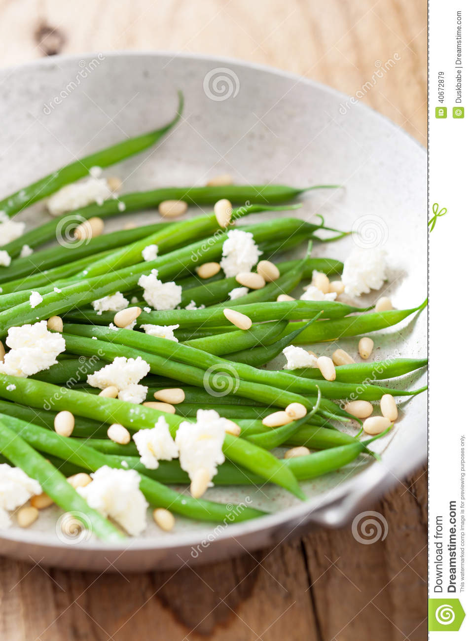 Green Beans Salad With Goat Cheese And Pine Nuts Stock Photo - Image ...