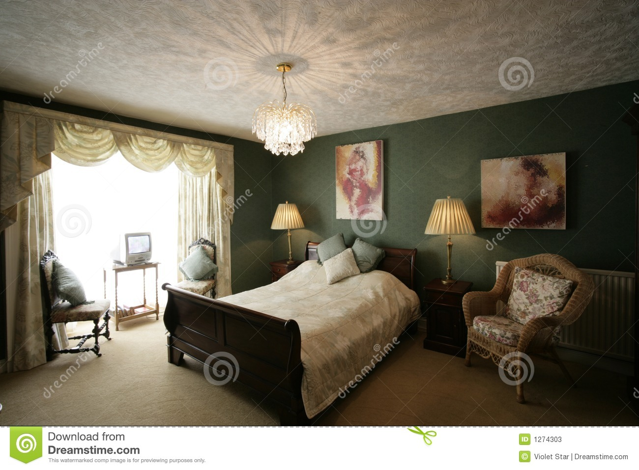 Slaapkamer Country Style : Green bedroom stock image image of green style bedroom