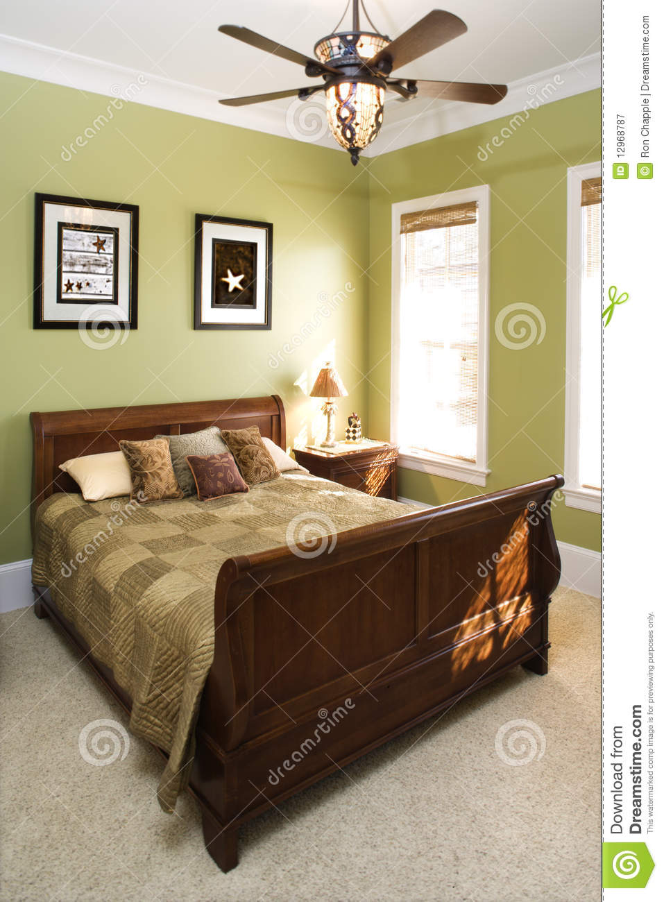 Green Bedroom With Ceiling Fan Royalty Free Stock