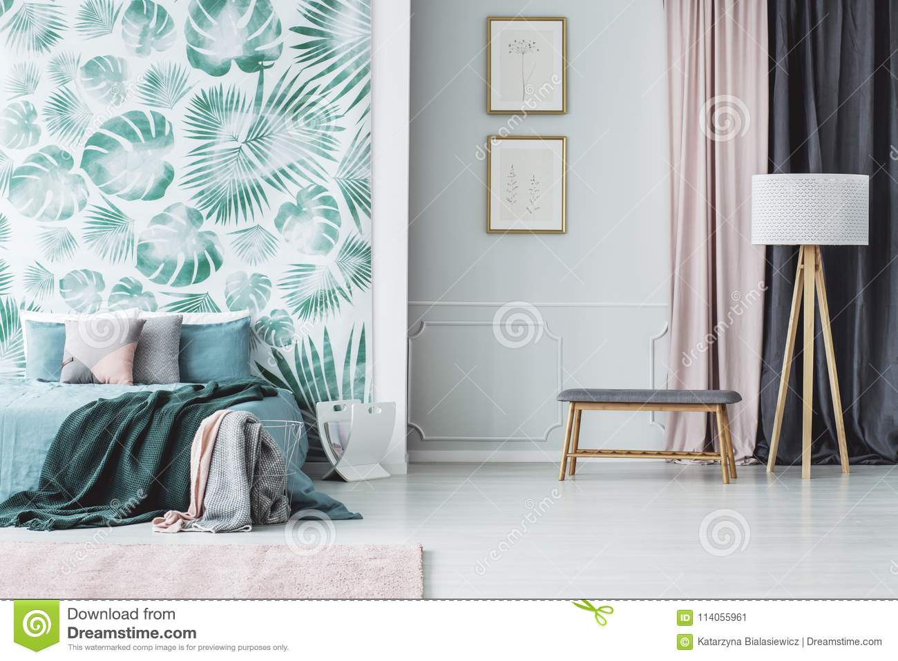 Green Bedroom Interior With Leaves Stock Image