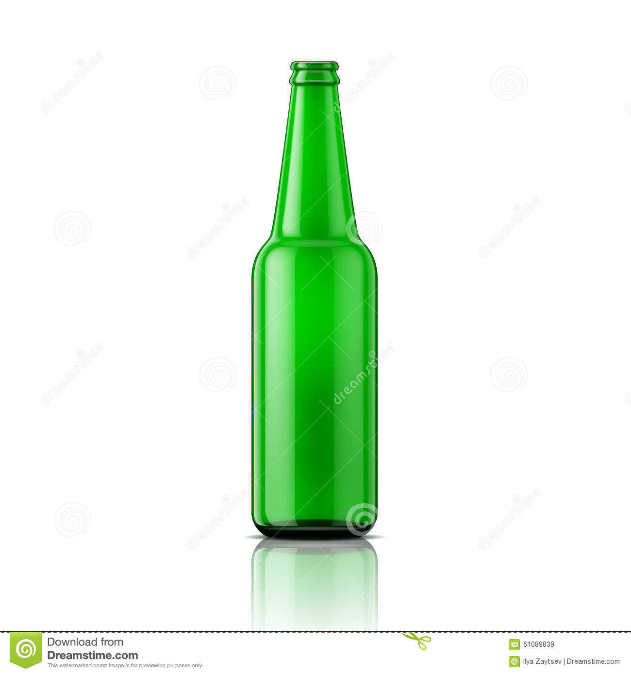 green beer bottle without cap stock vector illustration of opened