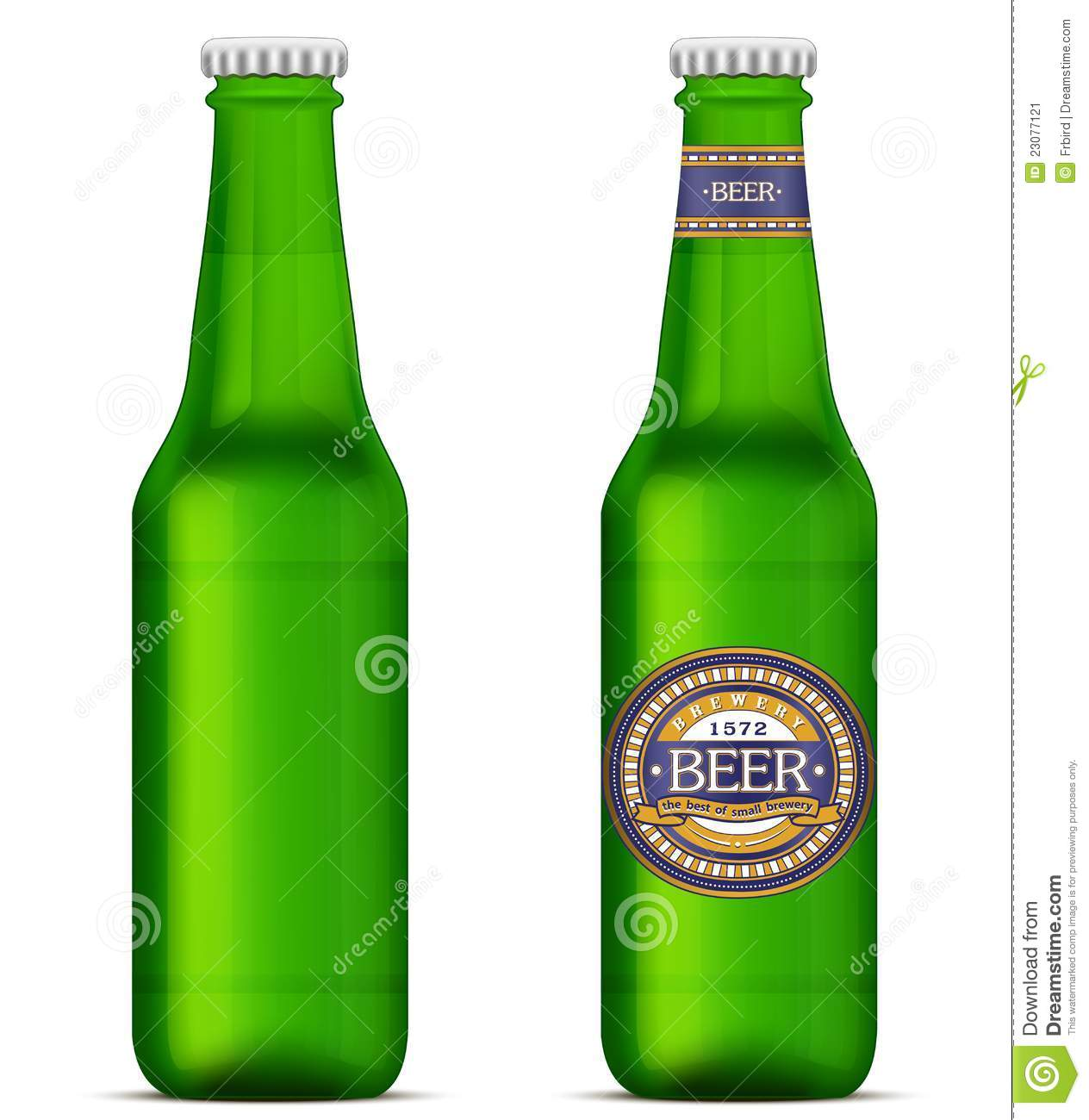 Green Beer Bottles With Label Template Stock Vector