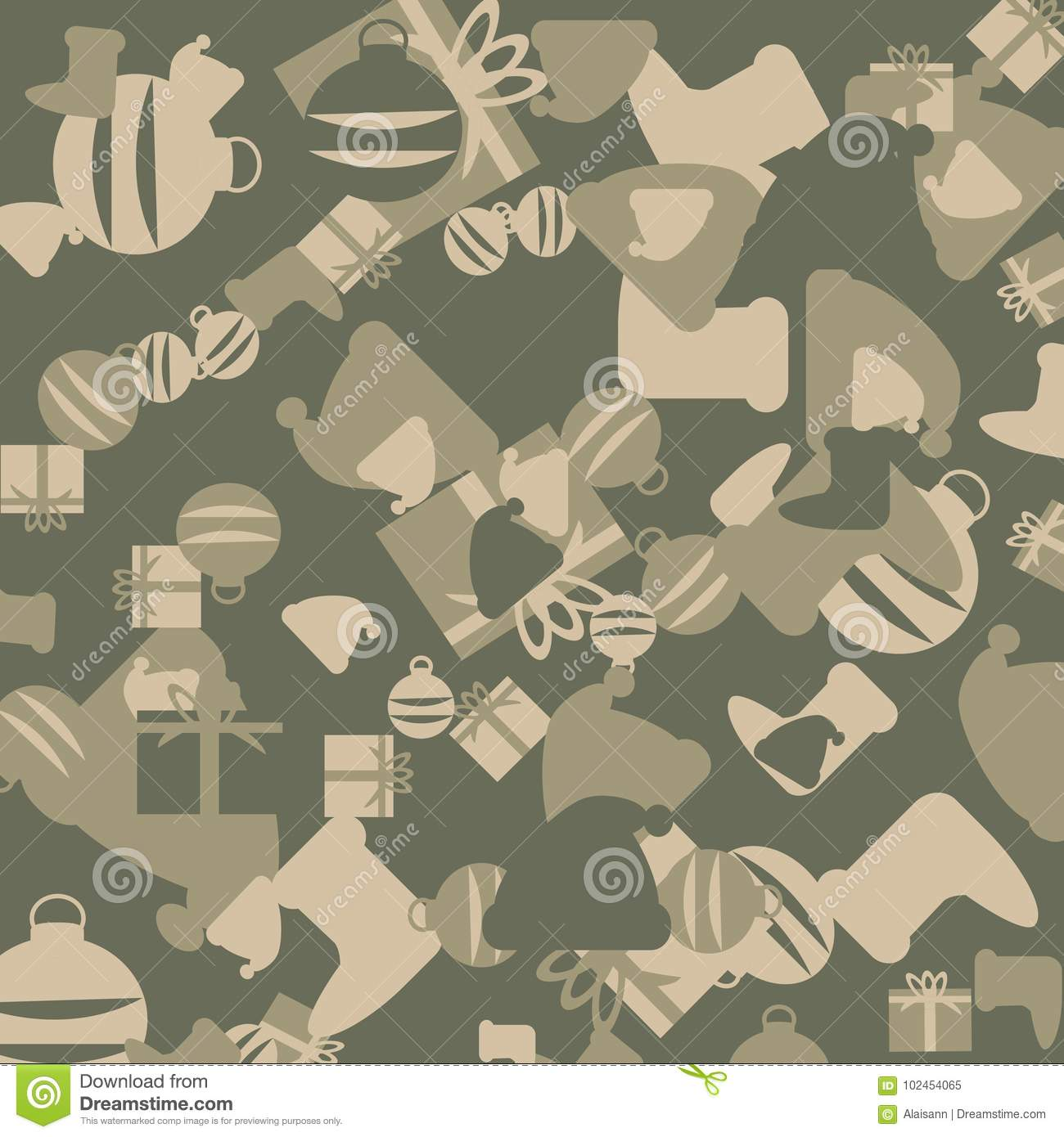 Green And Beige Christmas Camouflage With Images Of Gifts Stock ...