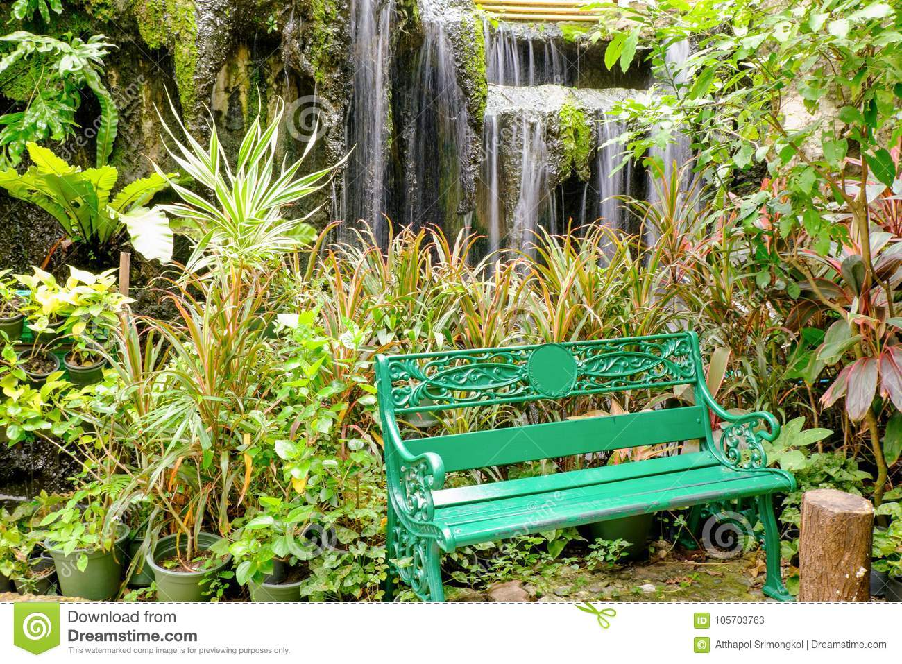 Tremendous The Green Bench In The Small Garden Stock Image Image Of Gamerscity Chair Design For Home Gamerscityorg