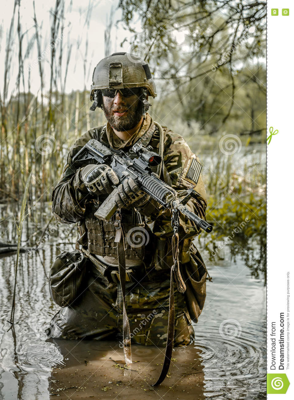 Green Beret In Action Stock Photo - Image: 75155034