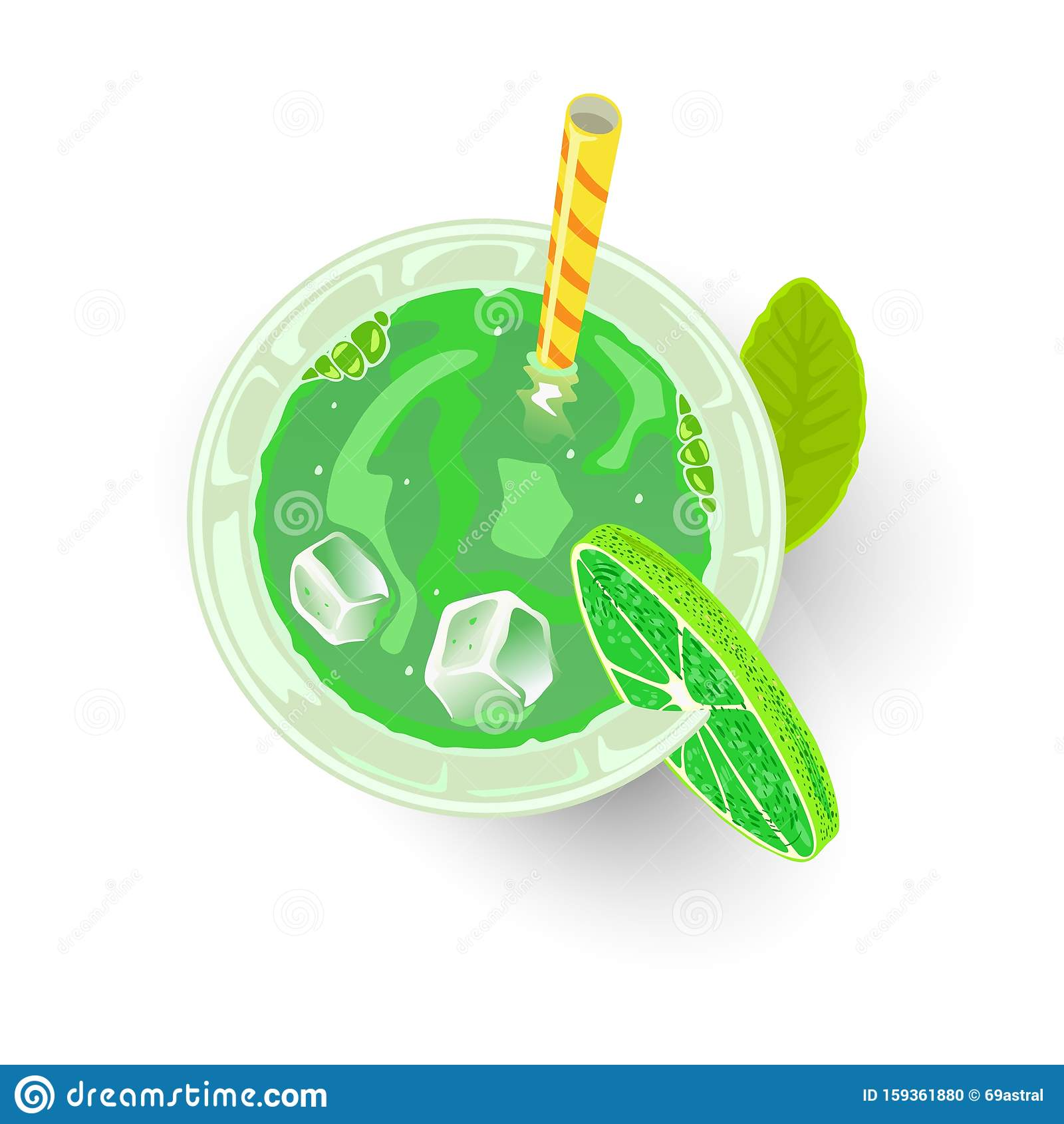 Green Beverage In Glass With Ice Cubes, Straw And Lime ...