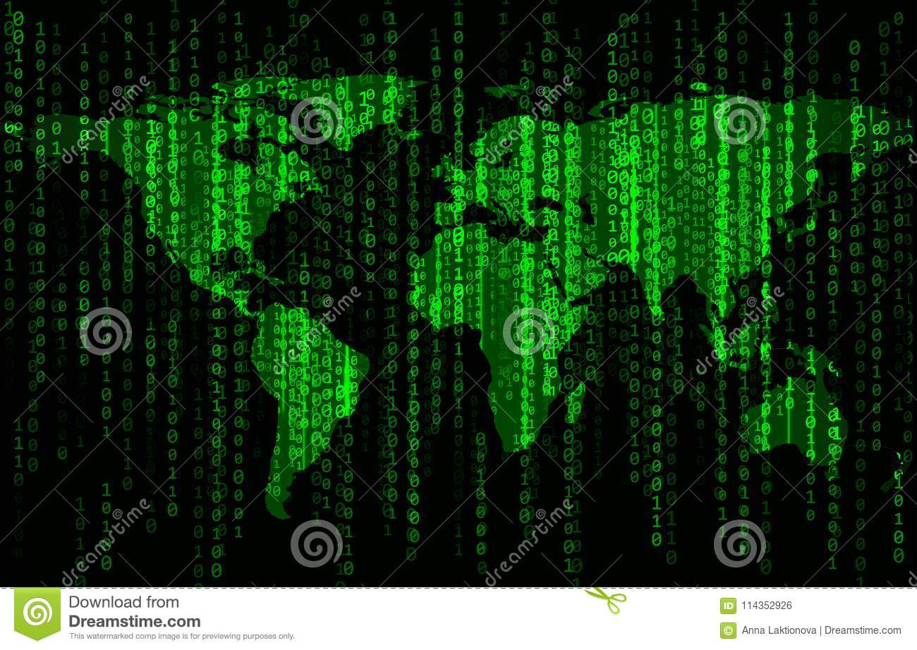 Binary code background with world map stock vector illustration of binary code background with world map royalty free vector gumiabroncs Image collections