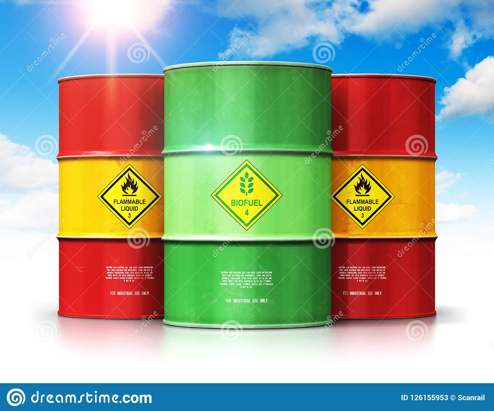 Green Biofuel Drum In Front Of Red Oil Or Gas Barrels Against Bl