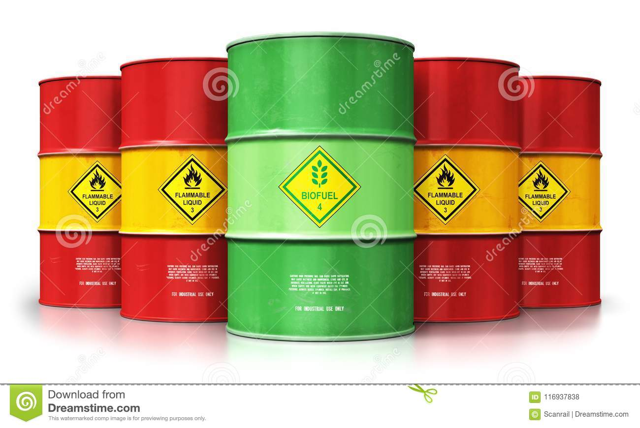 Green biofuel drum in front of red oil or gas barrels isolated o