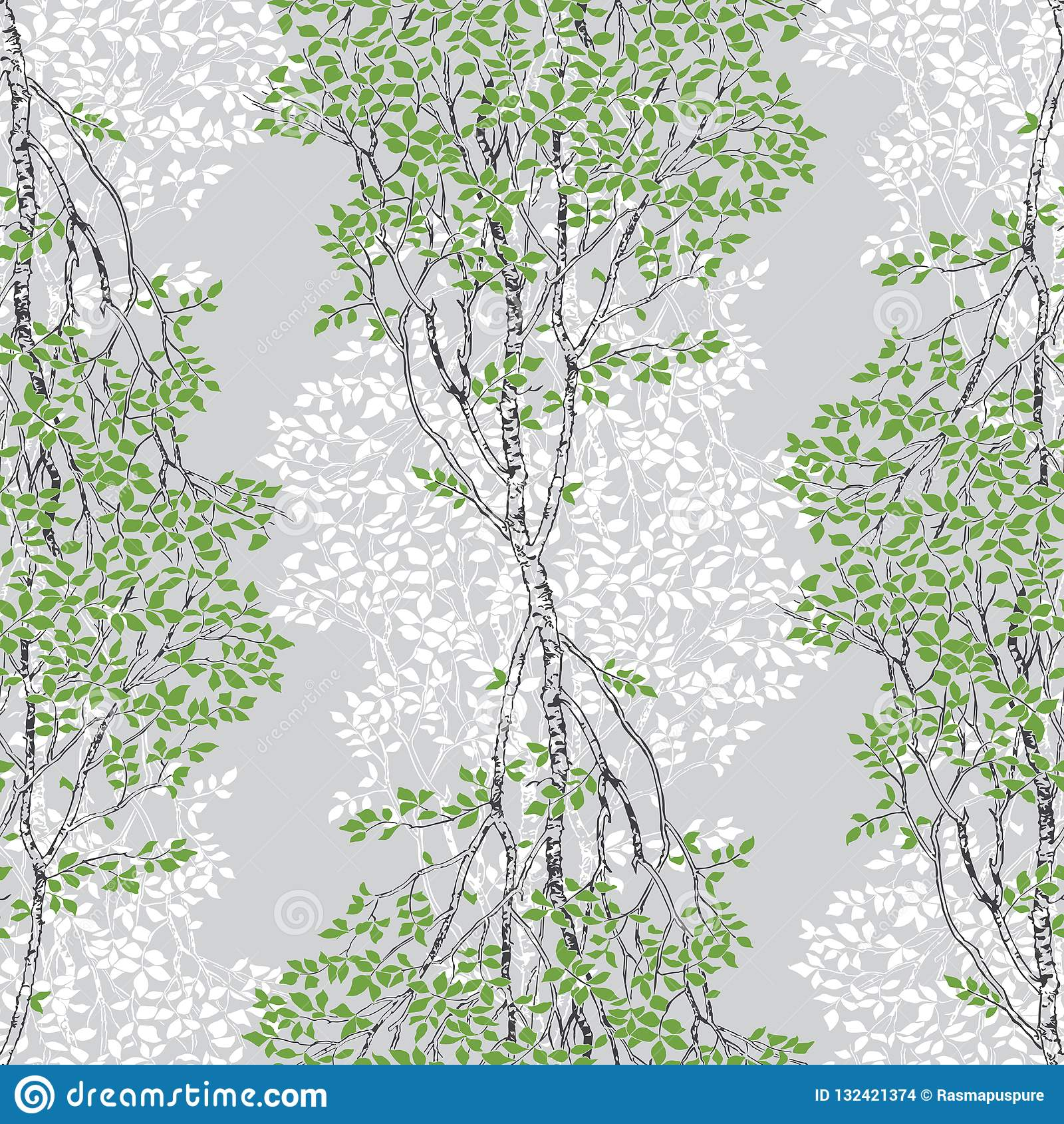 Green Birch Trees Decorative Drawing Seamless Pattern