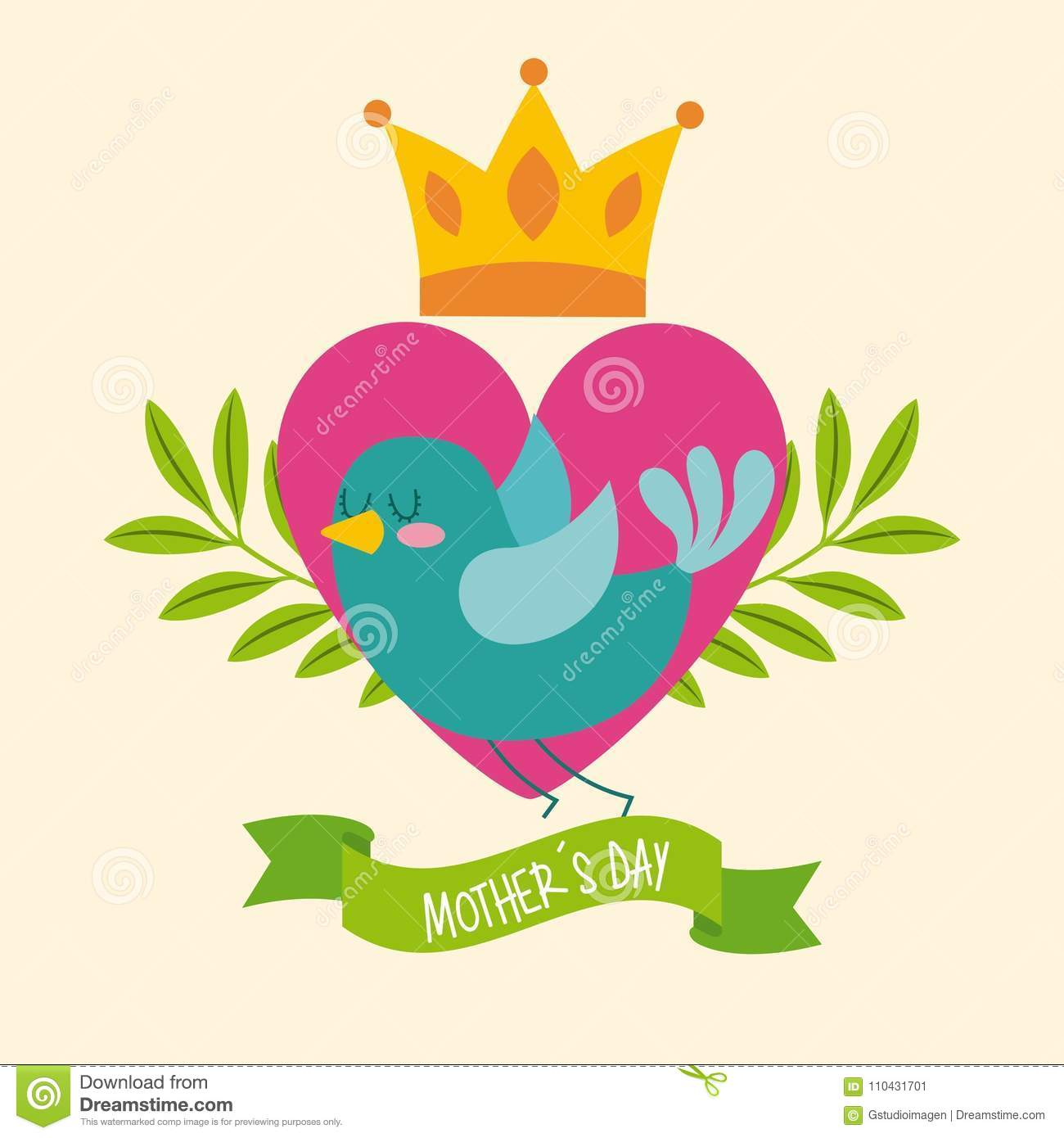 Green Bird Heart Crown Leaves Ribbon Mothers Day Stock Vector