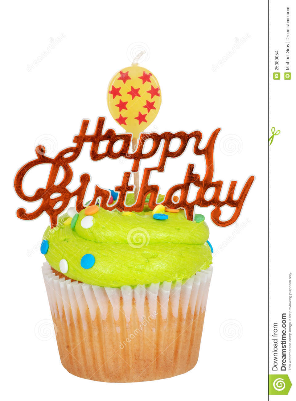 Green Birthday Cupcake With Balloon Candle Stock Images