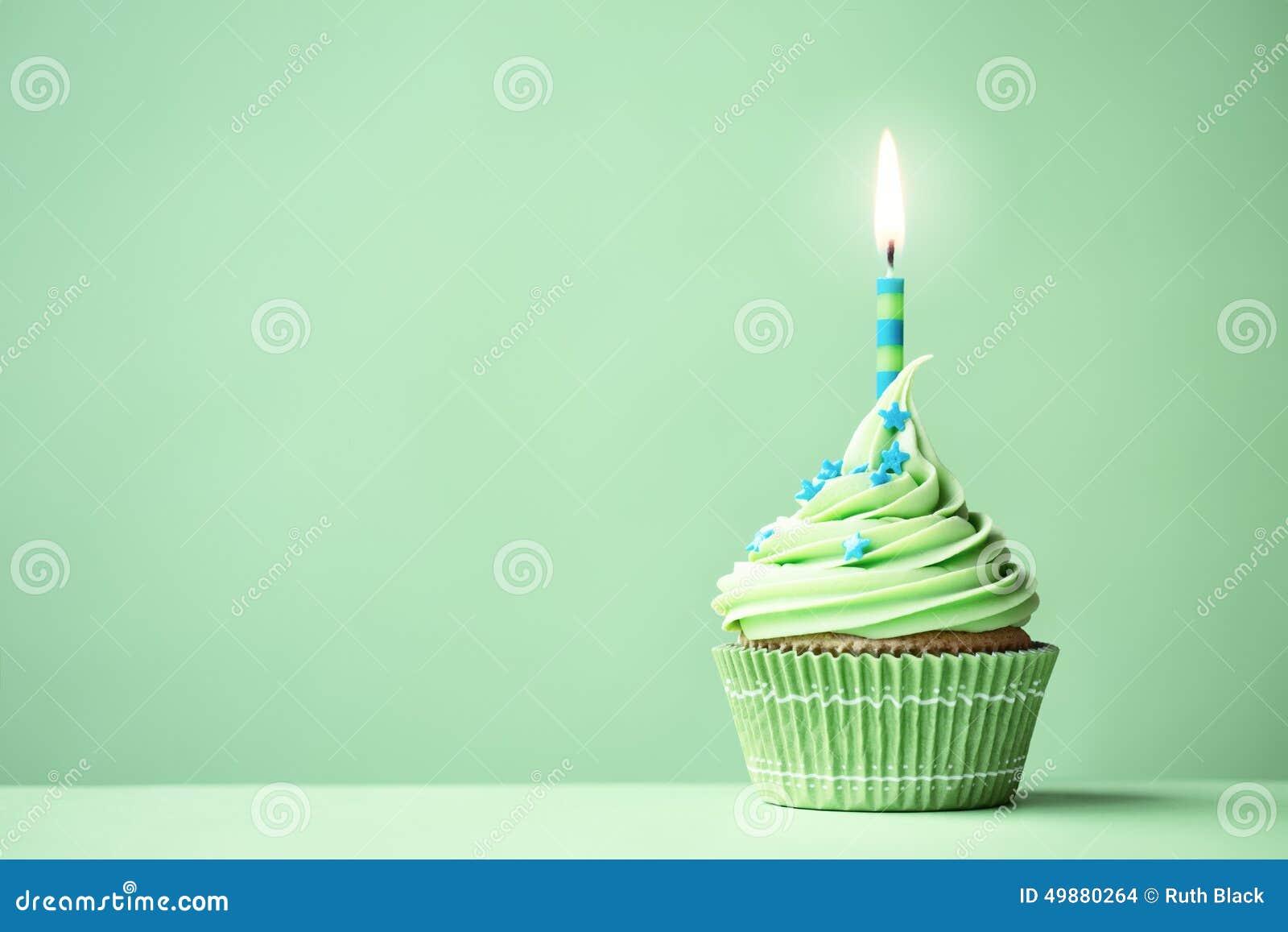 Green Birthday Cupcake Stock Photo - Image: 49880264
