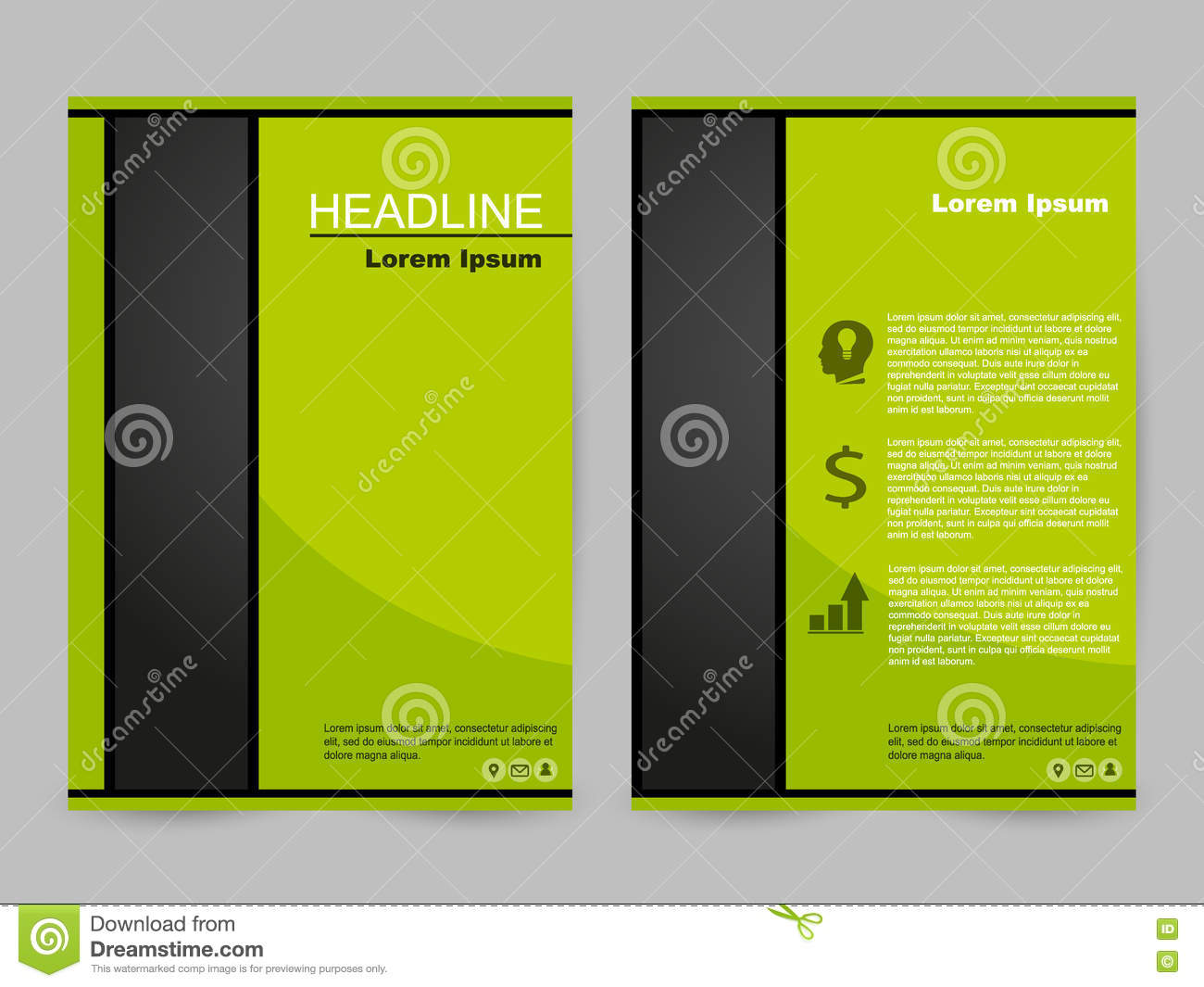 Green And Black Brochure Design Stock Vector Illustration Of