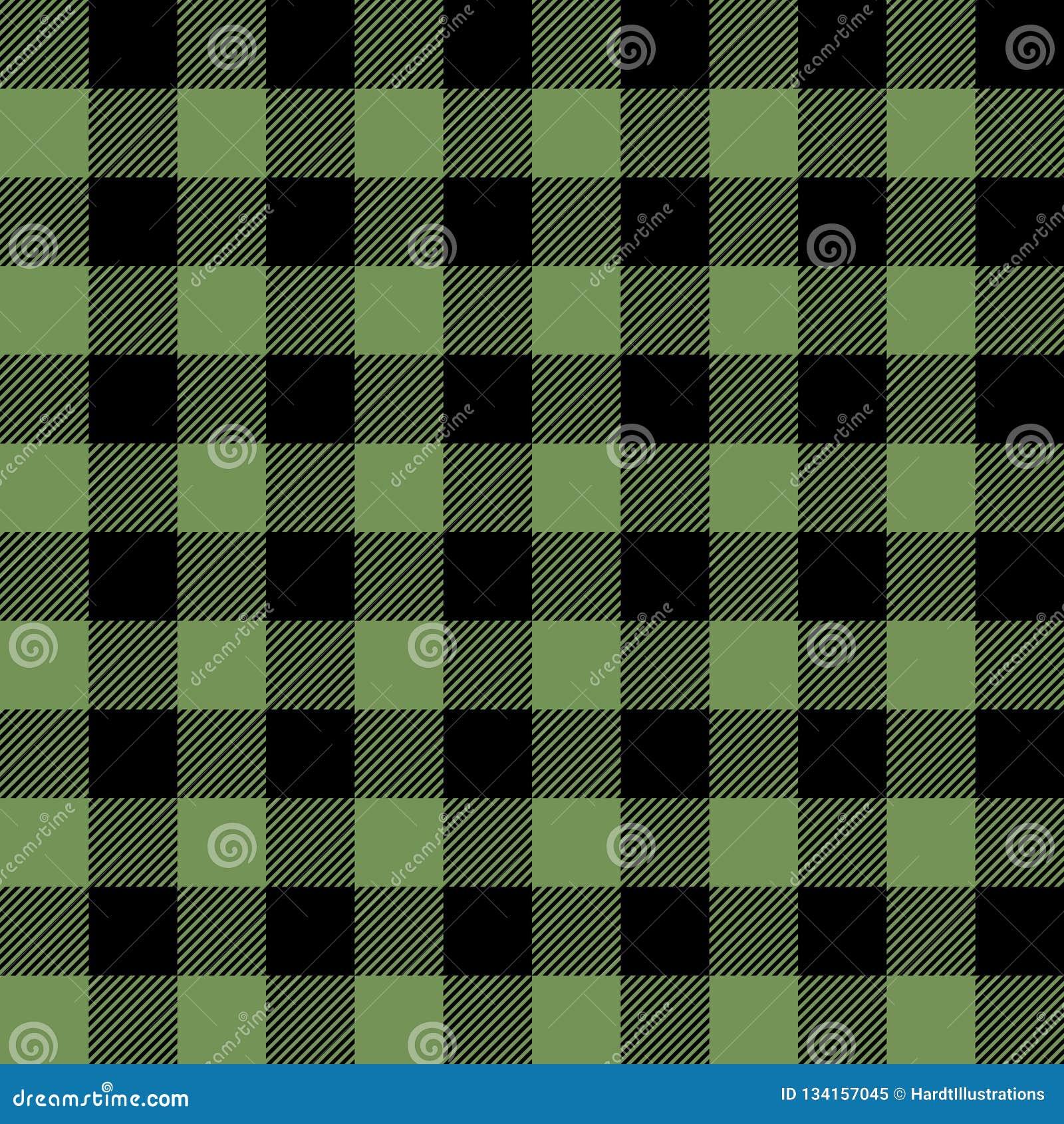 Green and Black Buffalo Plaid Seamless Pattern