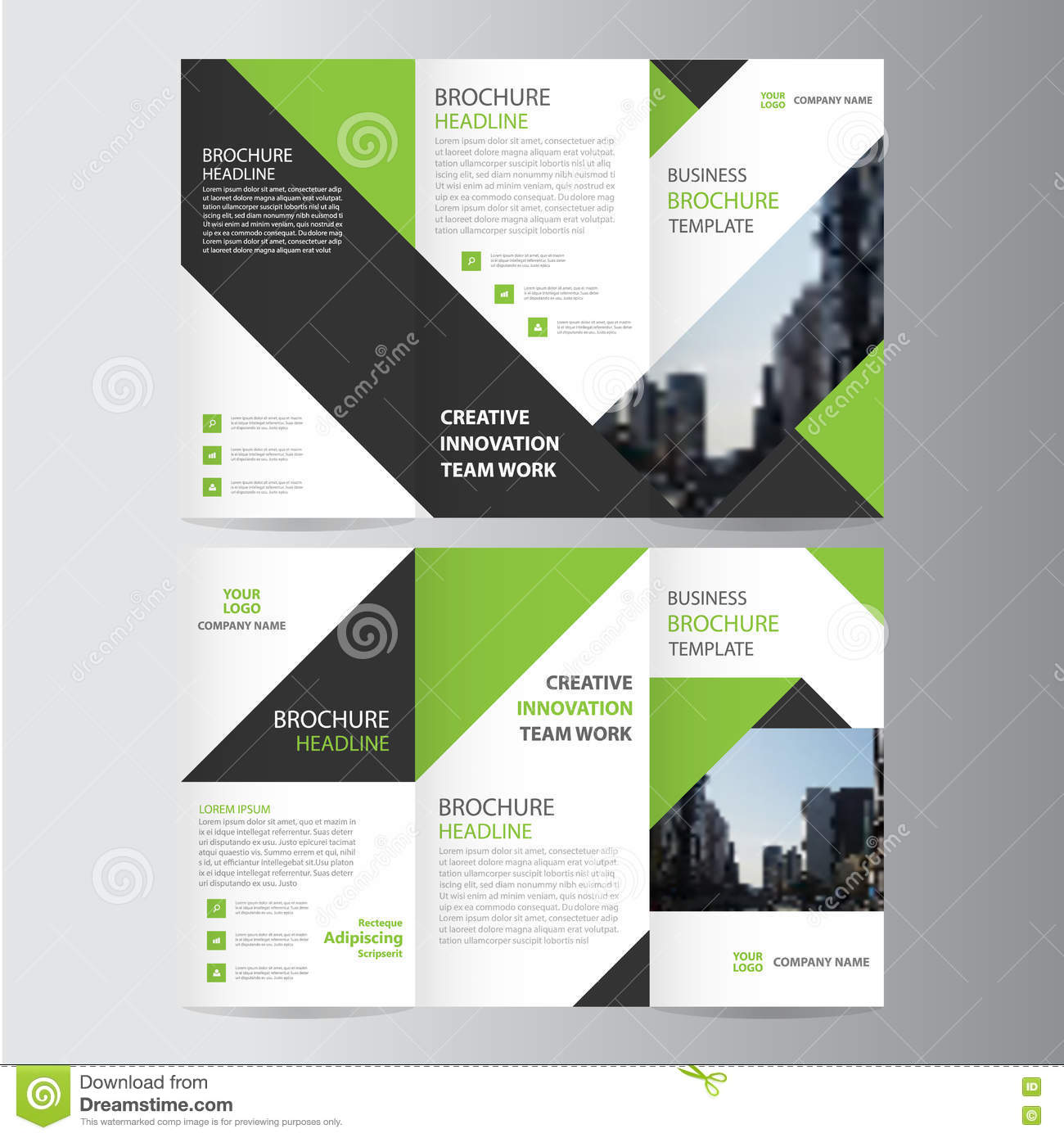 Vector Brochure Flyer Magazine Folder T Shirt Cover: Green Black Elegance Business Trifold Business Leaflet