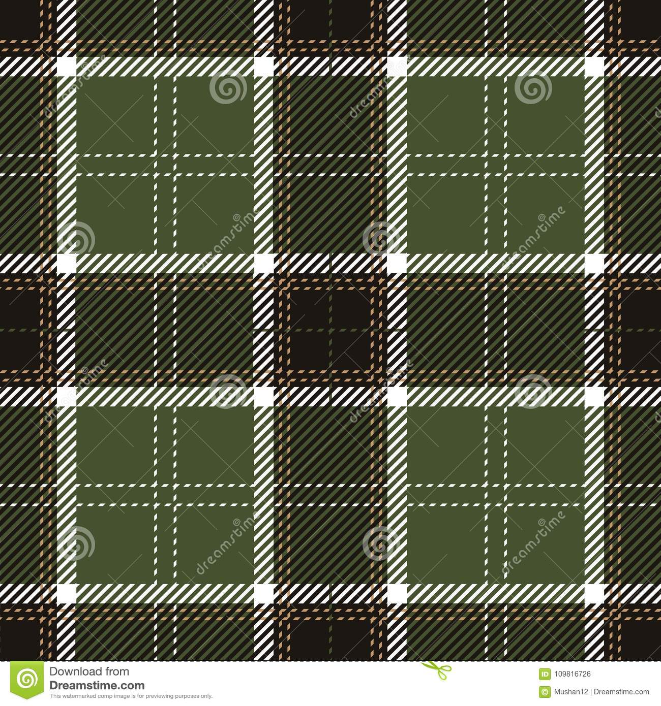Green And Black Tartan Plaid Seamless Scottish Pattern Stock