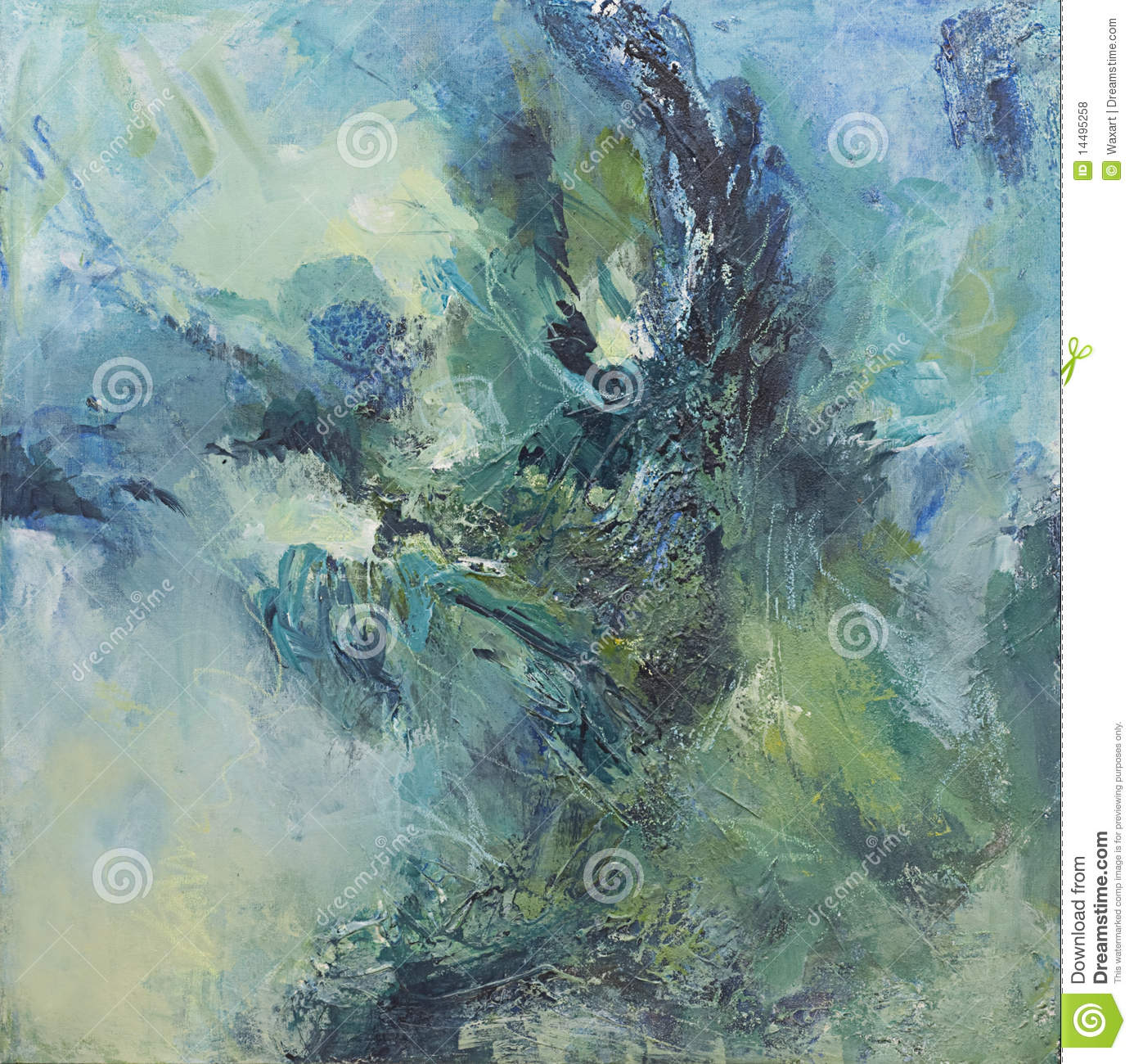 Green and blue abstract expressionist painting
