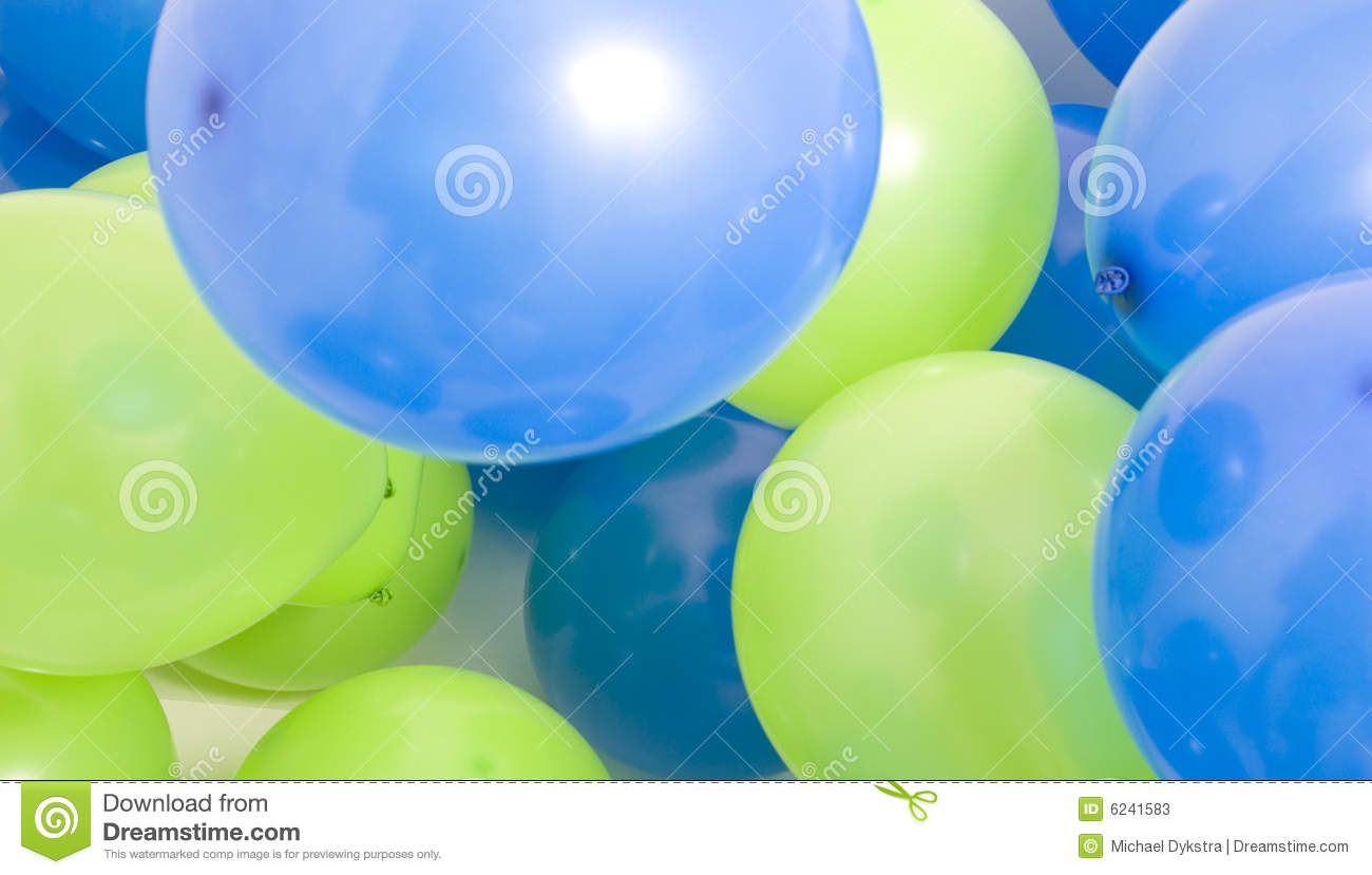 Green and blue balloons - Royalty Free Stock Photo