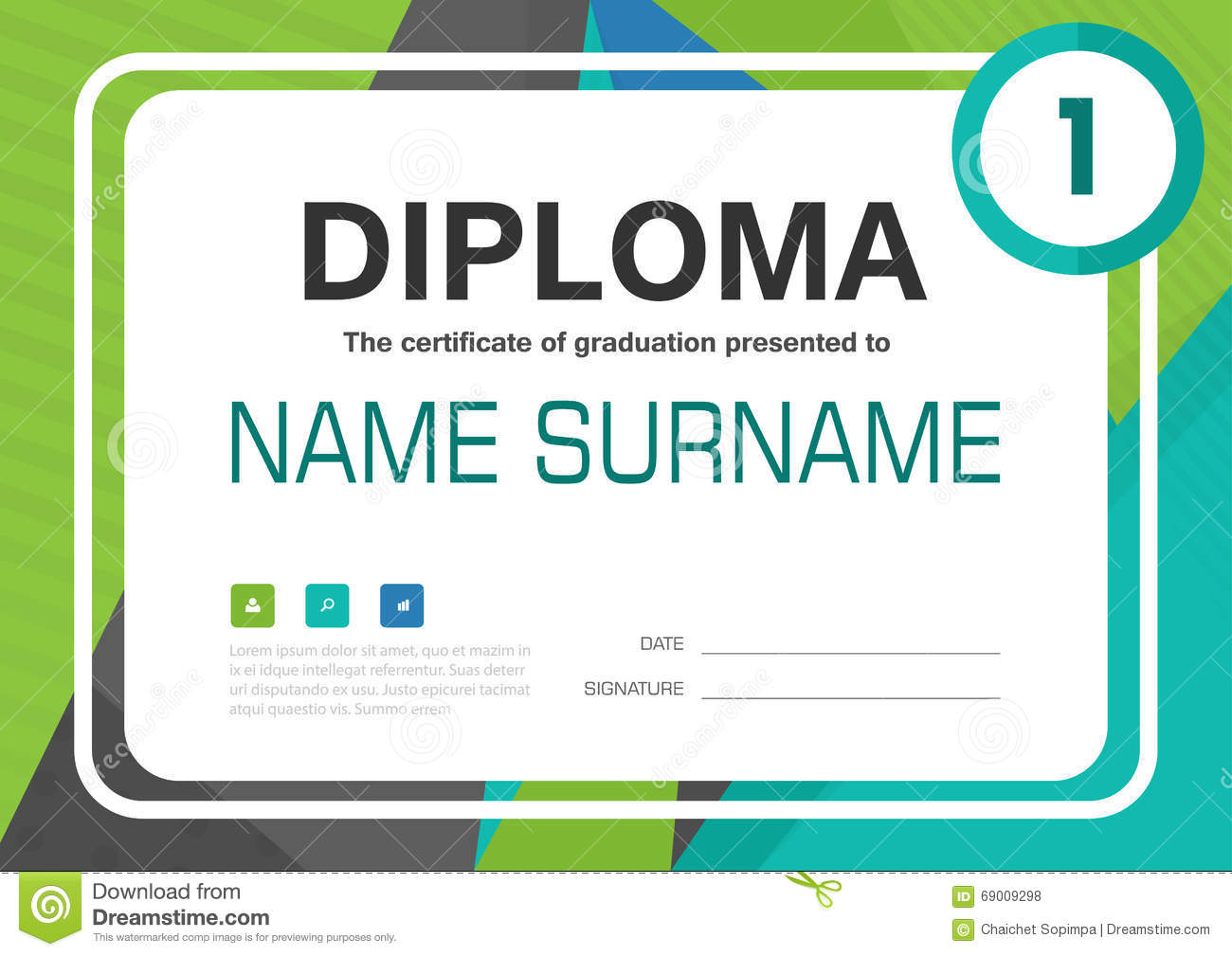 Green blue black a4 diploma certificate background template layout green blue black a4 diploma certificate background template layout design yadclub Image collections